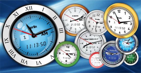 Free Vector Clocks running on desktop.
